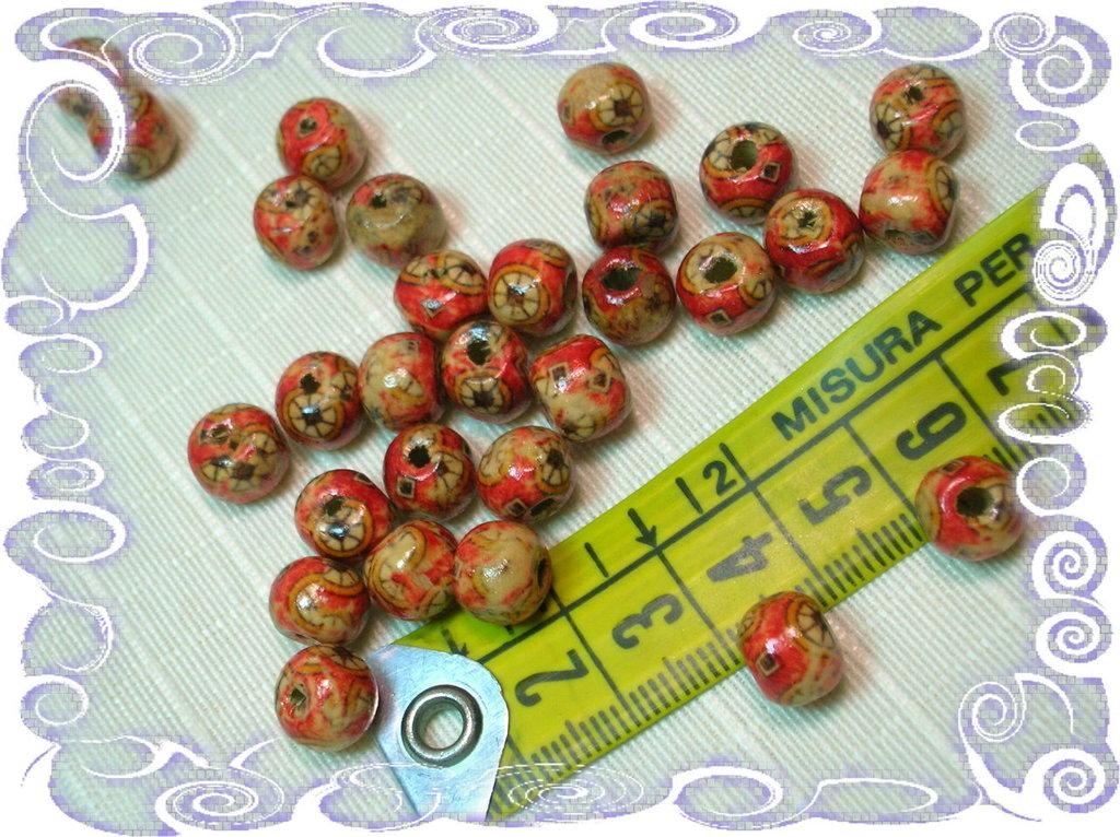 150 perline in legno stampate 9 mm