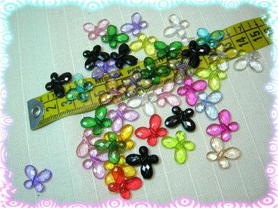10 farfalline acriliche trasparenti 17 x 13 mm, colori in mix