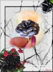 "Anello rosa ""Night rose"" in fimo"