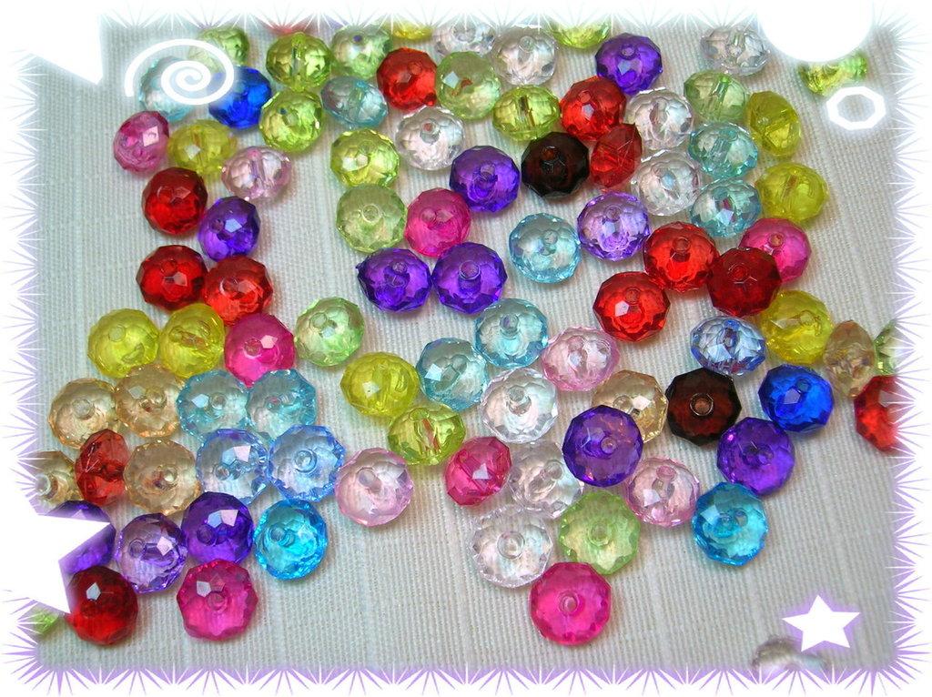 50 rondelle mix colori assortiti acrilico da 10 mm