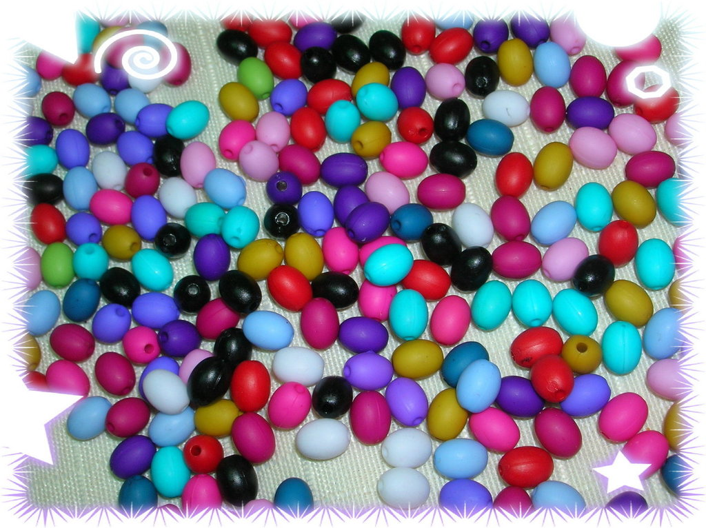 100 perline ovali in acrilico matte, colori assortiti, 8 mm