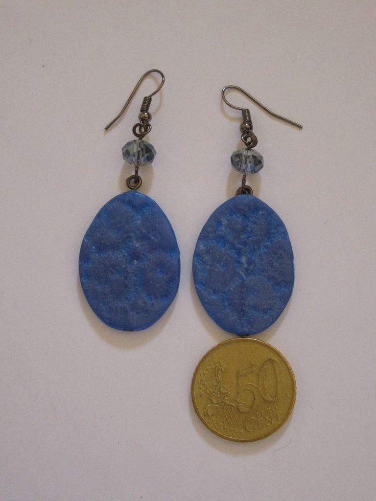 orecchini in fimo sfumato blu