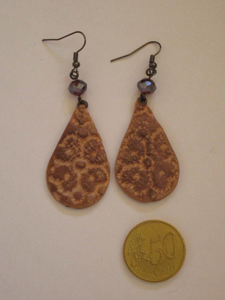 orecchini in fimo sfumato bronzo
