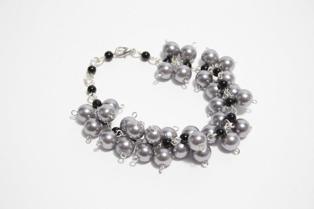 Bracciale Grigio Perle di Vetro