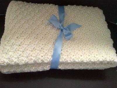 Copertina per neonato ai Ferri da Cashmere e Lana, 60X60 cm