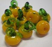 10 Perline MELE GIALLE in Vetro