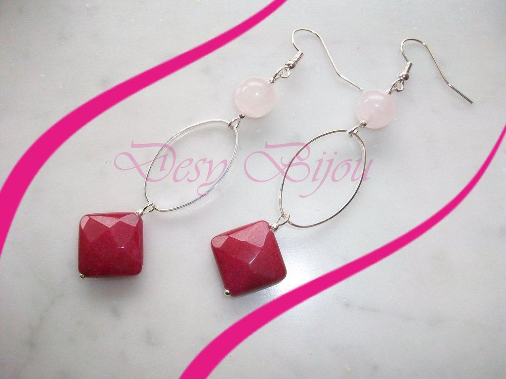 orecchini agata fuxia e quarzo rosa