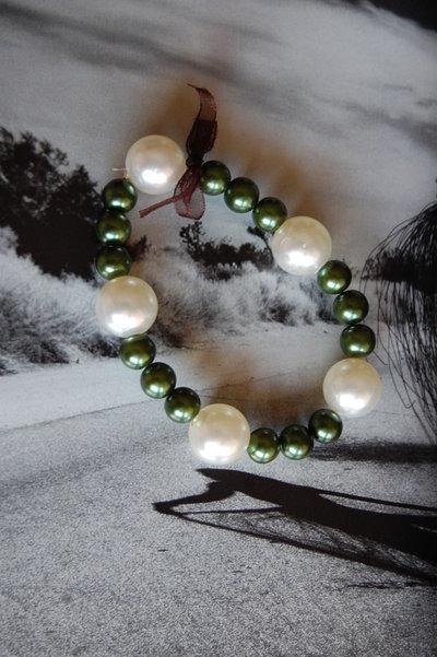 Braccialetto verde e bianco con fiocco di tulle