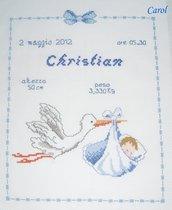 """Quadretto nascita - fiocco nascita - """"Cicogna"""" -punto croce- B40"""