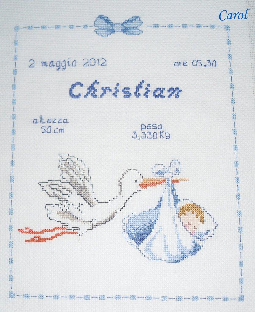 "Popolare Quadretto nascita - fiocco nascita - ""Cicogna"" -punto croce- B40  SP88"