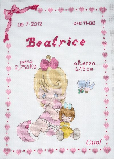 "Quadretto nascita - fiocco nascita - ""Precious Moments Lei"" -punto croce- B11"
