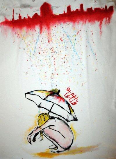 Maglia maniche lunghe dipinta a mano con disegno di una ragazza e il suo ombrello