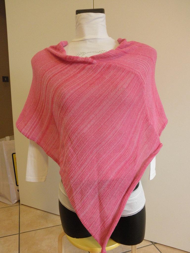 Poncho rosa melange,di cotone,accessori donna