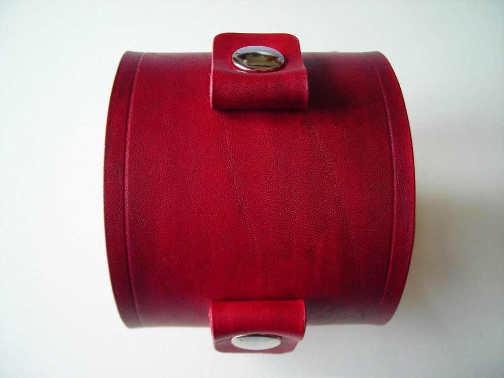 bracciale cuoio Johnny Depp style rossiccio leather cuff wristband reddish