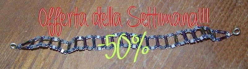 Bracciale fatto a mano, con semplici perline rotonde e baguette - PREZZO RIBASSATO!!!!!