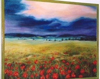 Paesaggio con papaveri dopo il temporale dipinto a olio