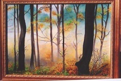 Paesaggio con Alberi nel Bosco su tela dipinta con colori a olio