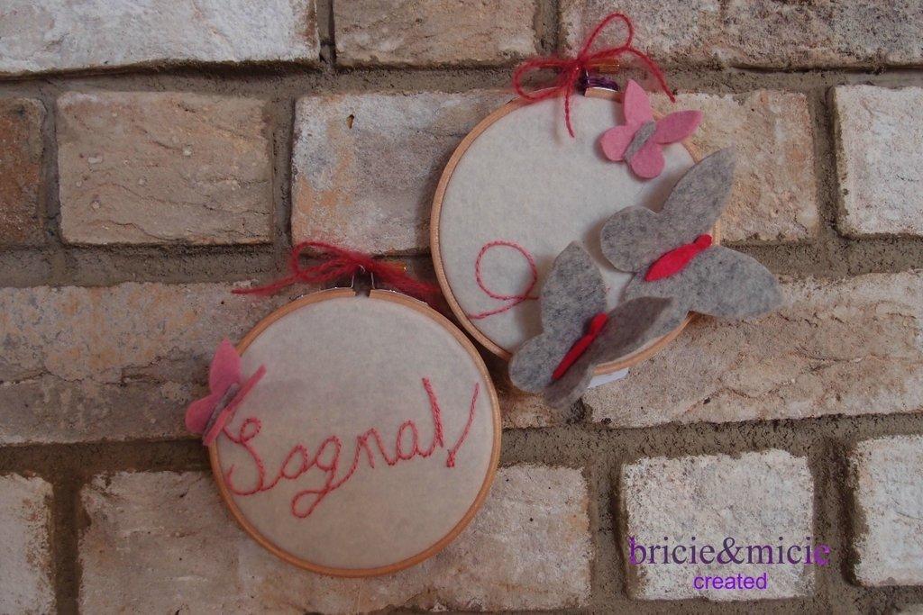 Embroidery hoops  Telaietti ricamato con farfalle in feltro