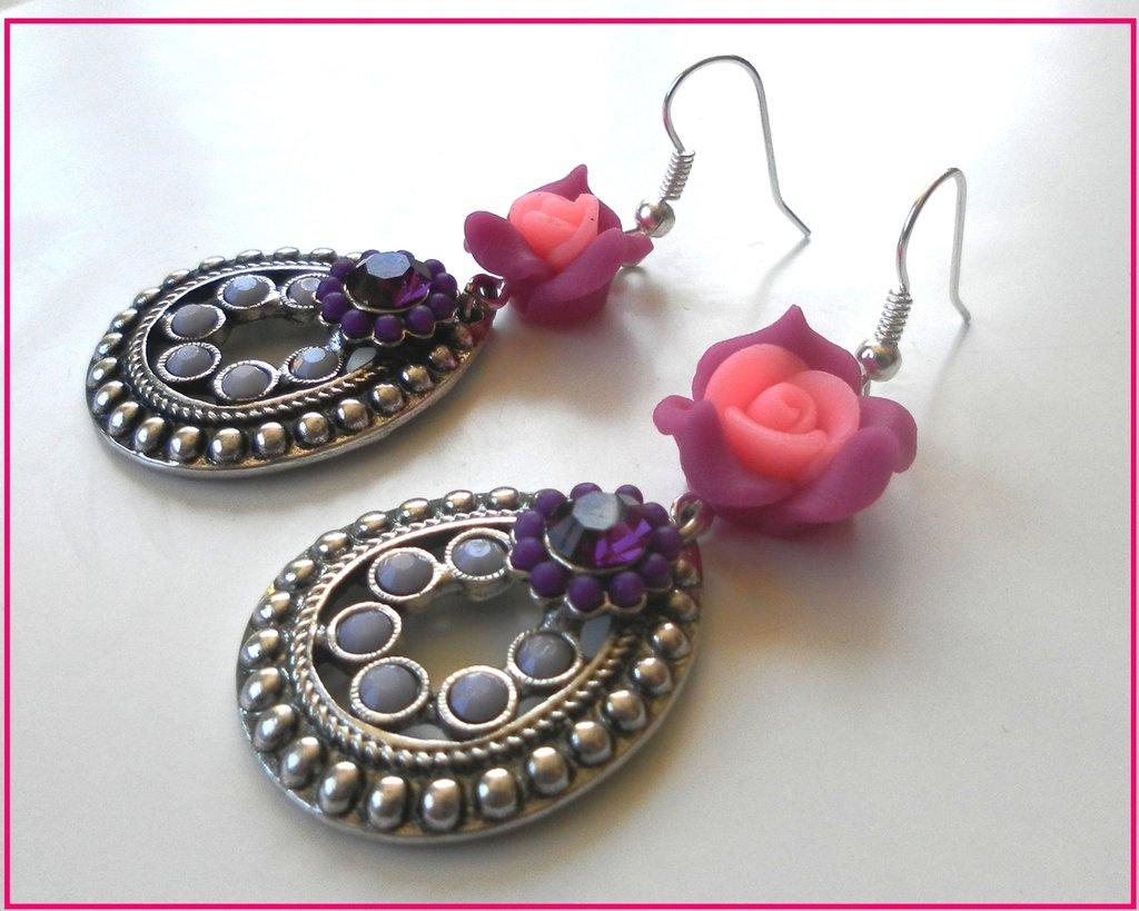 Orecchini realizzati con rosa in fimo e perndente con strass idea regalo!!