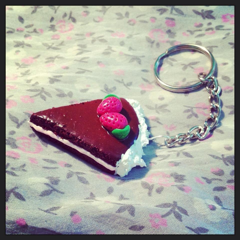 portachiavi fetta di torta al cioccolato