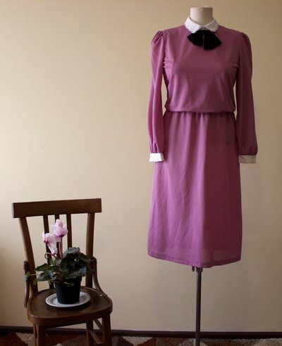 Pink 1980's vintage polyester secretary dress with white collar and wrists and black ribbon, Made in U.S.A.