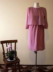 Pink 1980's vintage polyester dress, Made in U.S.A.