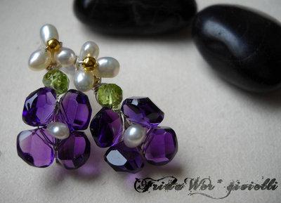 Delicate Amethyst Earrings -Free Shipping-