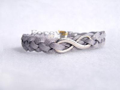 Bracciale intrecciato color argento con  Infinito - regalo natale coppia amore amicizia