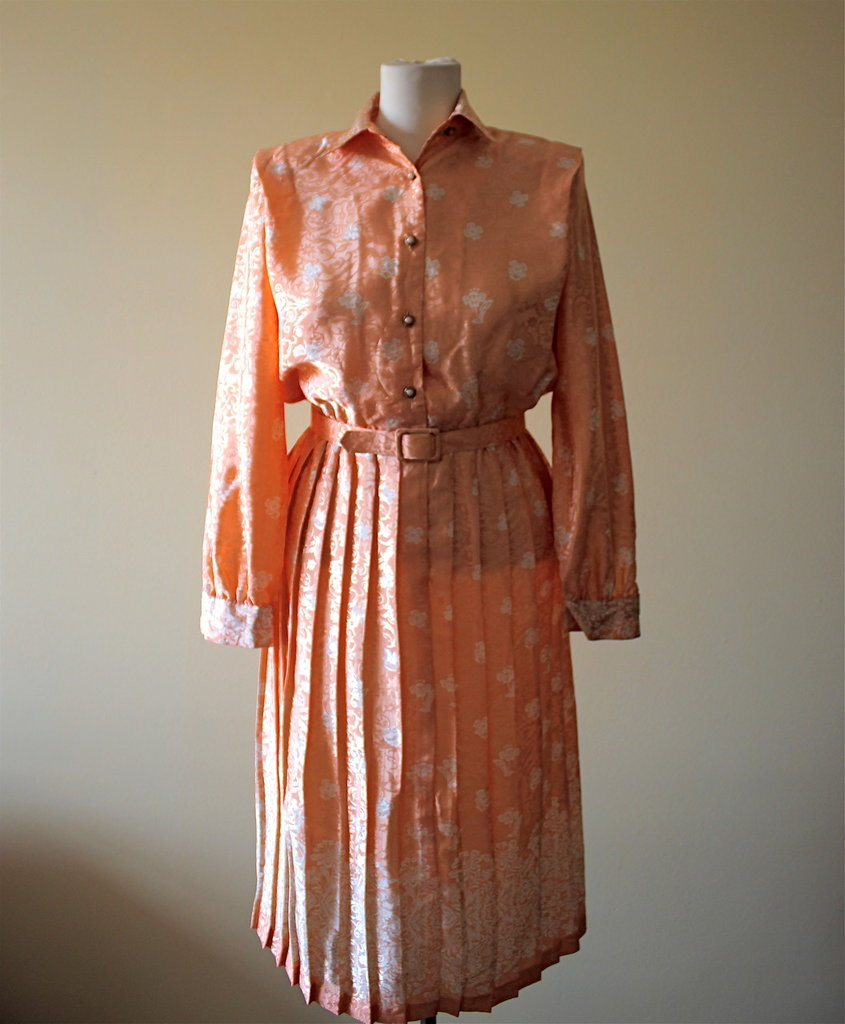 Shiny Orange 1980's vintage secretary polyester dress with White Oriental Flowers, Made in El Salvador, Excellent condition.