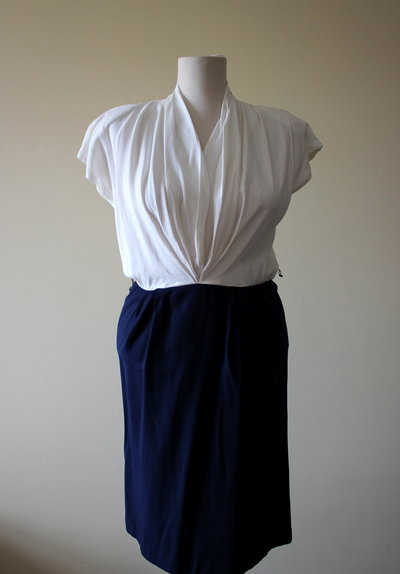 Dark blue and white 1980's elegant secretary acetate and rayon dress, Made in U.S.A. Excellent condition.