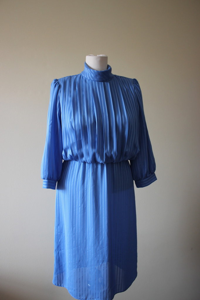 Elegant blue striped 1980's vintage secretary polyester dress Missy Petite, Made in U.S.A.