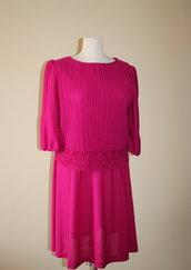 Bright fuchsia 1980's vintage secretary polyester dress, Made in U.S.A.