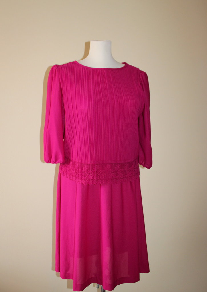Bright fuchsia 1980's vintage secretary polyester dress, Made in U.S.A.
