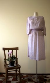 Pink 1980's vintage floral print summer dress. Made in U.S.A.