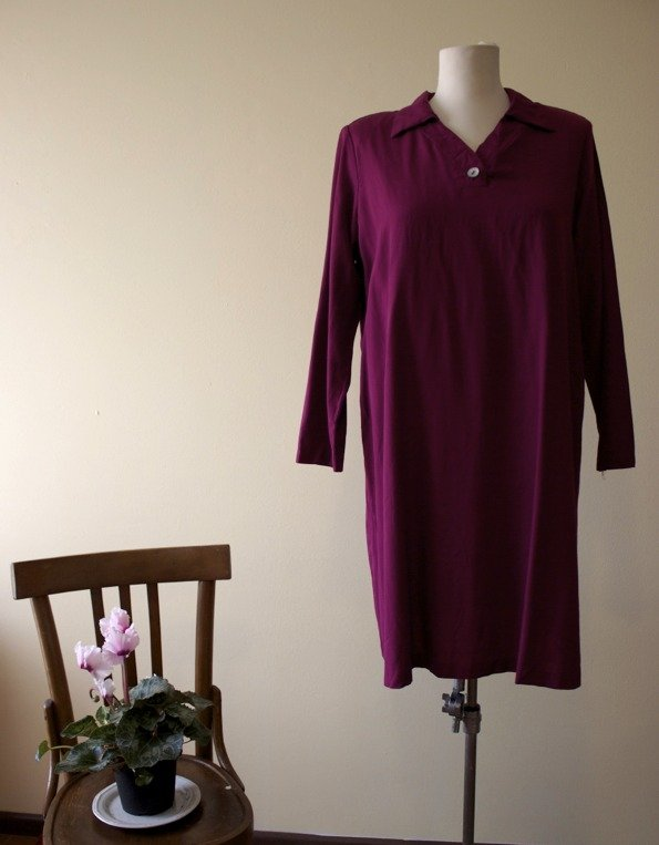 Purple 1980's vintage rayon/ polyester maternity dress, Made in U.S.A.