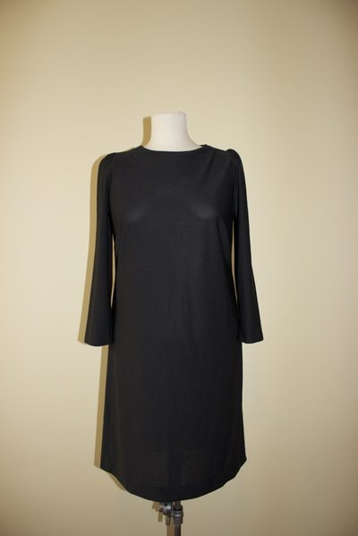 Black 1980's vintage polyester dress, Made in U.S.A.