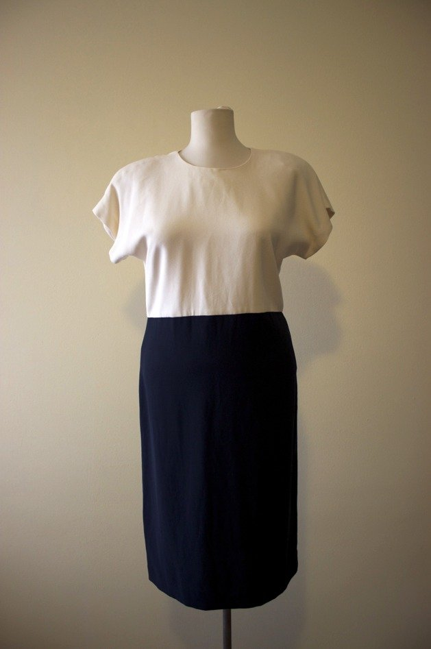 Black and white 1980's vintage triacetate/ polyester dress