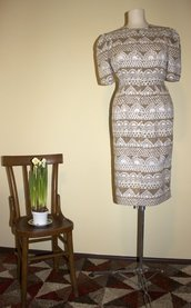 Beige brown and white 1980's vintage polyester summer dress