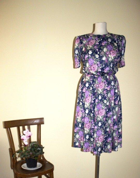 Floral print dark blue, purple, beige, pink, green 1980's vintage secretary dress, Size 12, Made in U.S.A.