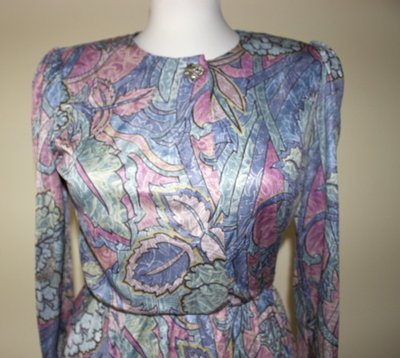 Blue, green, red, brown, pink, purple 1980's vintage polyester secretary dress, Size M, Made in U.S.A.