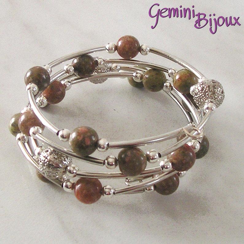 Bracciale armonico perle di unakite