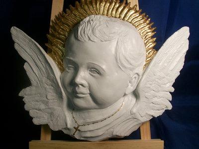 scultura altorilievo angioletto in gesso