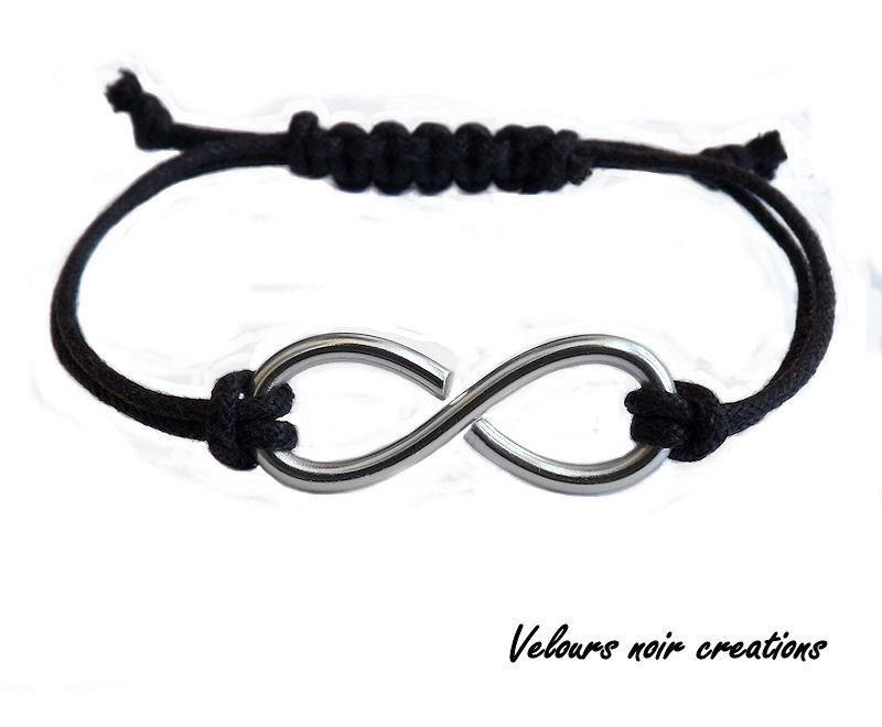 bracciale simbolo infinito uomo donna metallo wire cordino nero macramè unisex