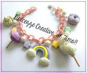 Bracciale kawaii colori pastello : zucchero filato, arcobaleno, stelle, perle, donut, leccalecca, panna