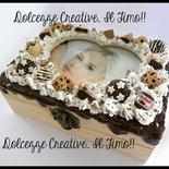 Portagioie quattro scomparti in legno portafoto panna nutella biscotti miniature idea regalo ragazza foto amore