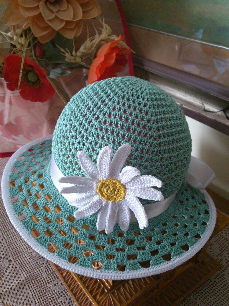 cappellino еstivo di cotone acqua verde per bimba  5-8 anni