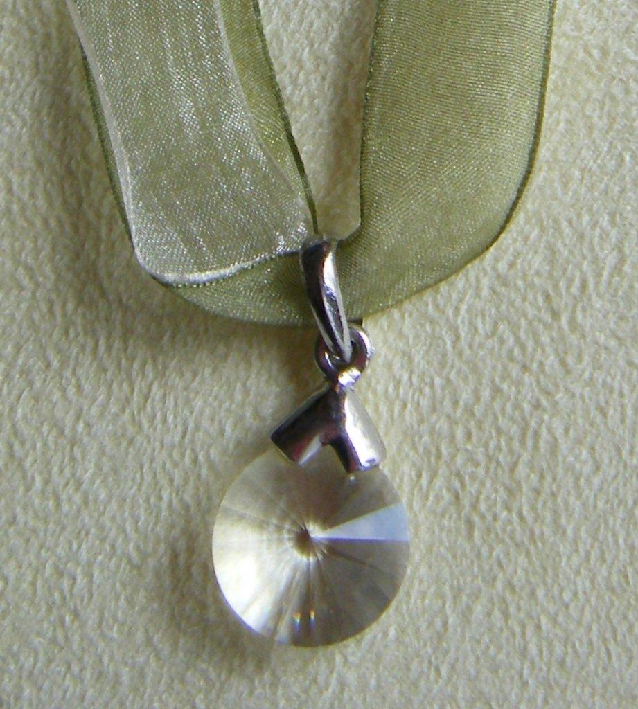 collana collarino doppio,organza e ciondolo con cristallo swarovski