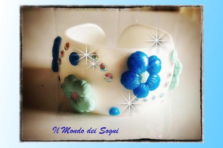 Bracciale fimo rigido fiori azzurri verdi+SCATOLINA REGALO! IDEA REGALO