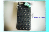 Cover IPHONE 5 nera con fiocco fimo verde tiffany+SCATOLINA REGALO!