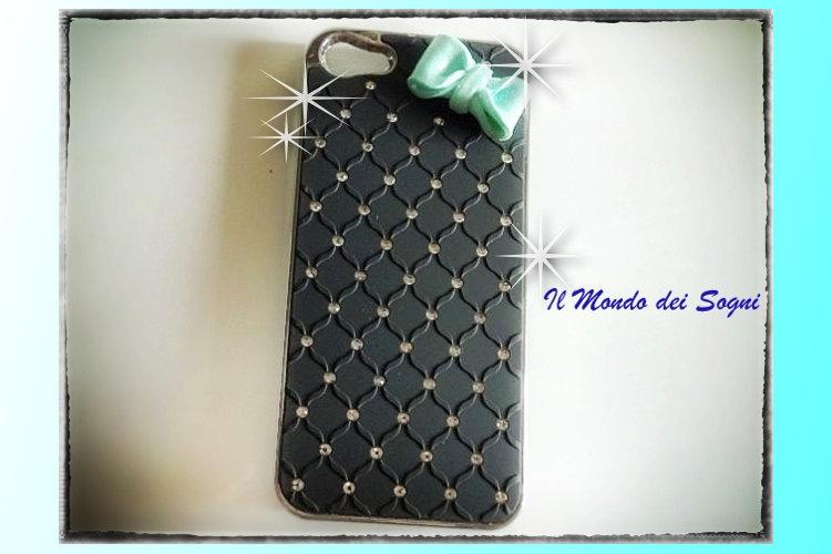 Cover IPHONE 5 nera con fiocco fimo verde tiffany+SCATOLINA REGALO!